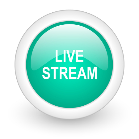 live stream: live stream round glossy web icon on white background