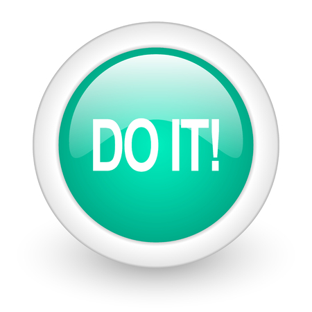just do it: do it round glossy web icon on white background