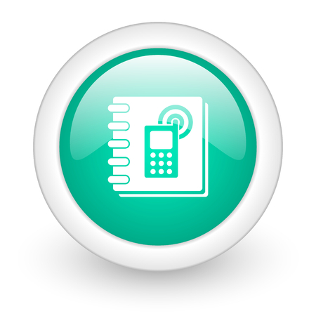 phonebook: phonebook round glossy web icon on white background