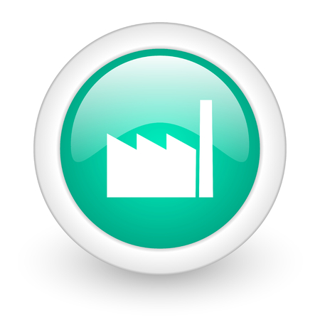 industrialist: factory round glossy web icon on white background Stock Photo