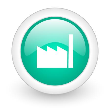 factory round glossy web icon on white background Stock Photo