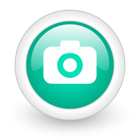 photo camera round glossy web icon on white background