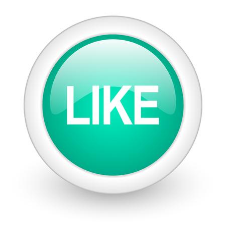 i like: like round glossy web icon on white background