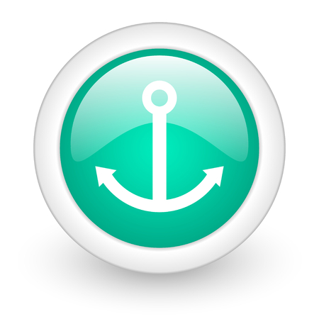 quay: anchor round glossy web icon on white background Stock Photo