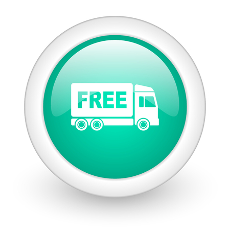 deliverance: free delivery round glossy web icon on white background Stock Photo