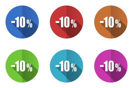 10 percent flat design vector icons set in 10 eps.