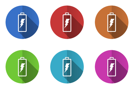 Battery flat design vector icons set in 10 eps.