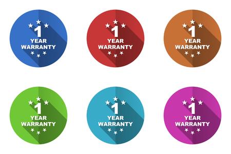 warrants: 1 year warranty flat design vector icons set in 10 eps.