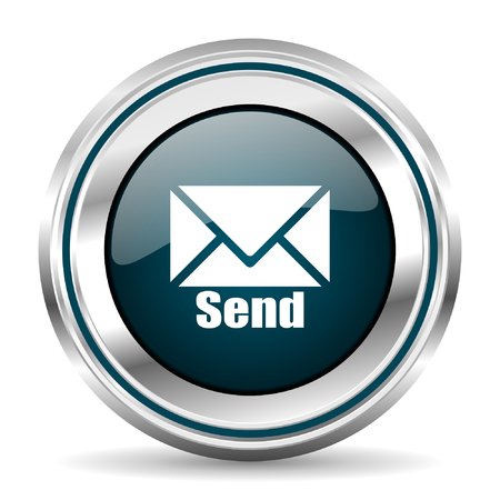 Email vector icon. Chrome border round web button. Silver metallic pushbutton. 矢量图像
