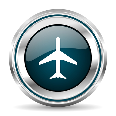 chrome border: Plane vector icon. Chrome border round web button. Silver metallic pushbutton.
