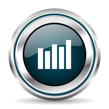 chrome border: Graph bar chart vector icon. Chrome border round web button. Silver metallic pushbutton.