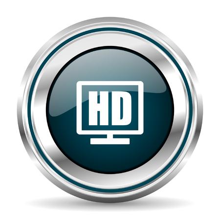 chrome border: HD TV vector icon. Chrome border round web button. Silver metallic pushbutton.