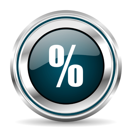 chrome border: Percentage vector icon. Chrome border round web button. Silver metallic pushbutton.