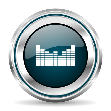 chrome border: Music vector icon. Chrome border round web button. Silver metallic pushbutton. Illustration