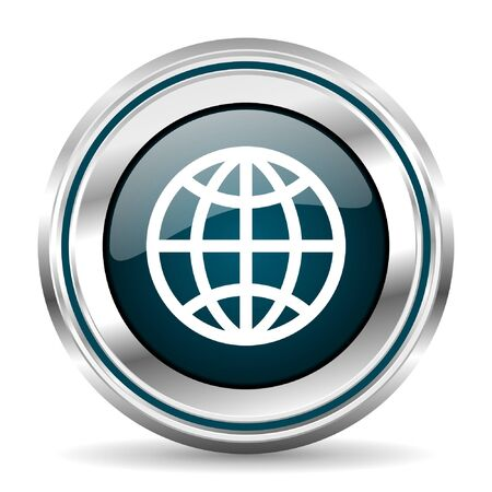 chrome border: Globe vector icon. Chrome border round web button. Silver metallic pushbutton.