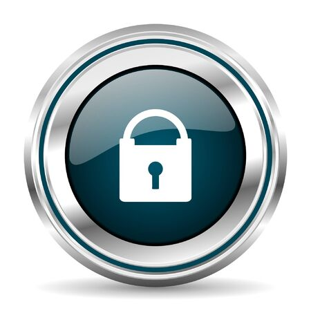 warrants: Padlock vector icon. Chrome border round web button. Silver metallic pushbutton. Illustration