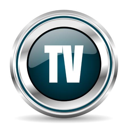 chrome border: TV vector icon. Chrome border round web button. Silver metallic pushbutton.