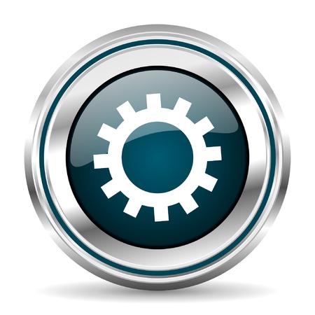 icono del vector de engranajes. borde cromado botón de la web ronda. pulsador metálico de plata. Ilustración de vector