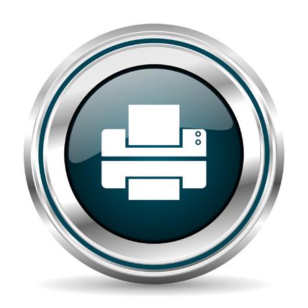 chrome border: Printer vector icon. Chrome border round web button. Silver metallic pushbutton. Illustration