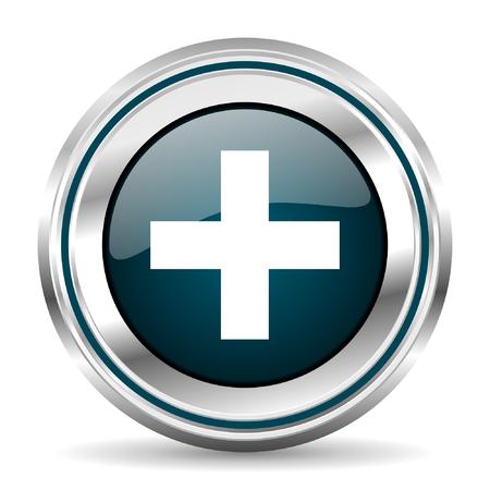 chrome border: Cross vector icon. Chrome border round web button. Silver metallic pushbutton.