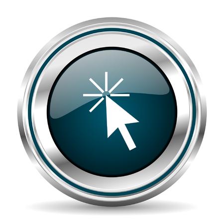 Haga clic aquí icono de vector. borde cromado botón de la web ronda. pulsador metálico de plata.