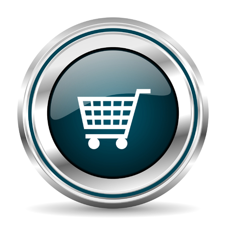 chrome border: Shopping cart vector icon. Chrome border round web button. Silver metallic pushbutton.
