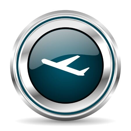 Plane vector icon. Chrome border round web button. Silver metallic pushbutton.