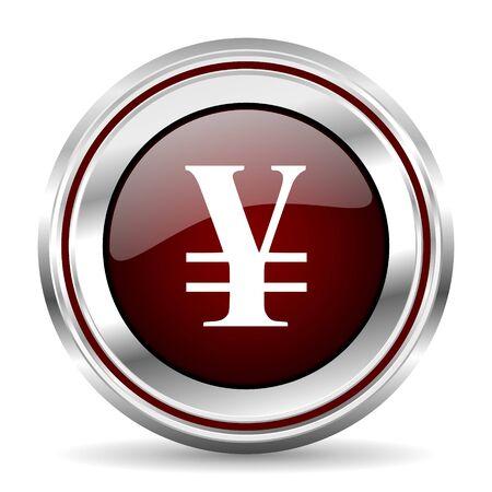 pushbutton: yen icon chrome border round web button silver metallic pushbutton