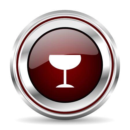 pushbutton: alcohol  icon chrome border round web button silver metallic pushbutton