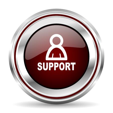 pushbutton: support icon chrome border round web button silver metallic pushbutton Stock Photo