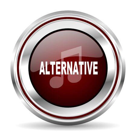 pushbutton: alternative music icon chrome border round web button silver metallic pushbutton Stock Photo