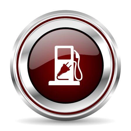 chrome border: fuel icon chrome border round web button silver metallic pushbutton Stock Photo
