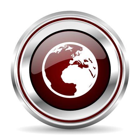 pushbutton: earth icon chrome border round web button silver metallic pushbutton