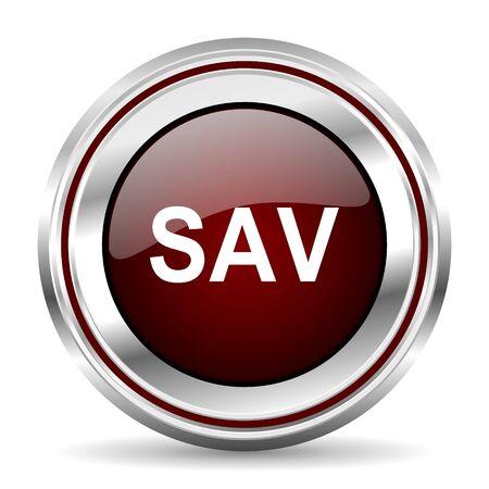pushbutton: sav icon chrome border round web button silver metallic pushbutton