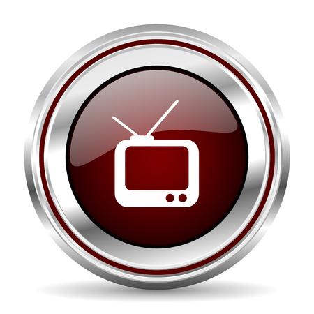 pushbutton: tv icon chrome border round web button silver metallic pushbutton