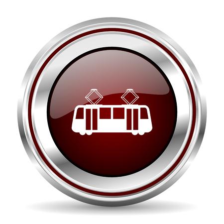 pushbutton: tram icon chrome border round web button silver metallic pushbutton Stock Photo