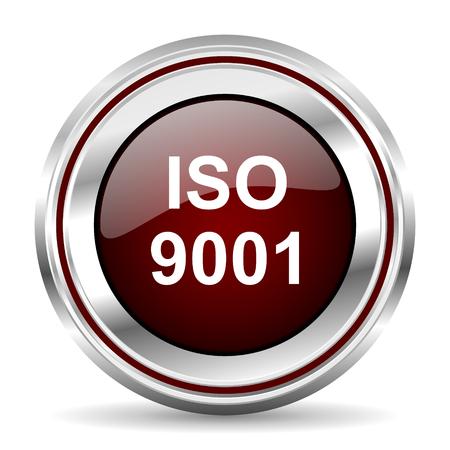 standard steel: iso 9001 icon chrome border round web button silver metallic pushbutton Stock Photo