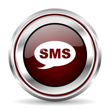 pushbutton: sms icon chrome border round web button silver metallic pushbutton Stock Photo