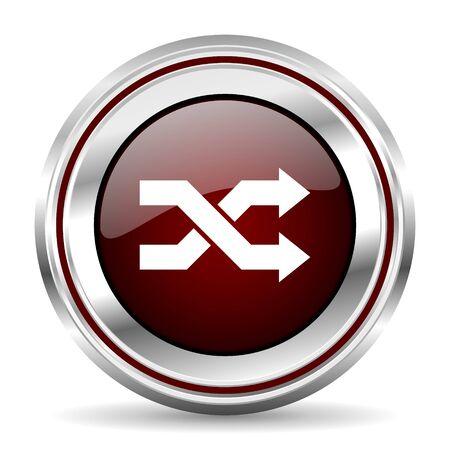 pushbutton: aleatory icon chrome border round web button silver metallic pushbutton Stock Photo