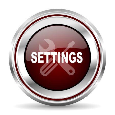 pushbutton: settings icon chrome border round web button silver metallic pushbutton