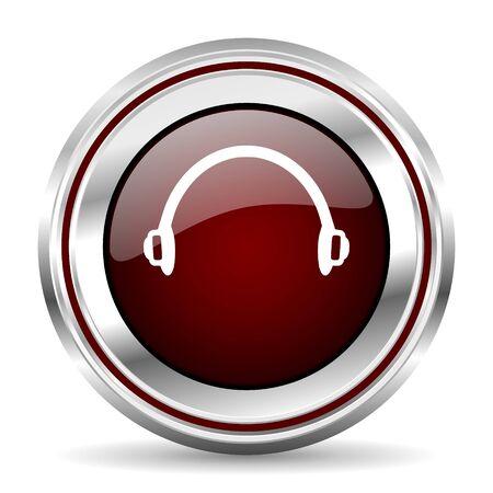 chrome border: headphones icon chrome border round web button silver metallic pushbutton