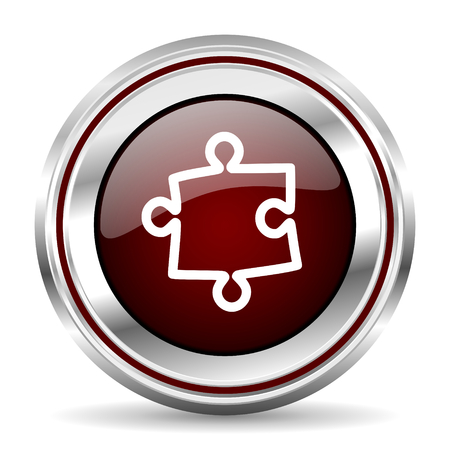 pushbutton: puzzle icon chrome border round web button silver metallic pushbutton