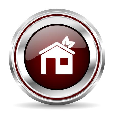 pushbutton: house icon chrome border round web button silver metallic pushbutton