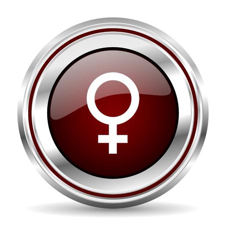 pushbutton: female icon chrome border round web button silver metallic pushbutton Stock Photo