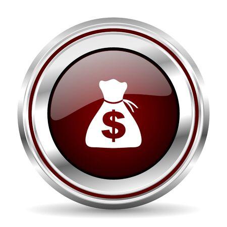 money icon chrome border round web button silver metallic pushbutton