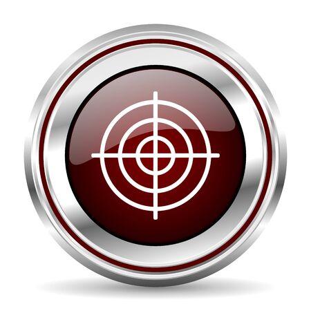 chrome border: target icon chrome border round web button silver metallic pushbutton