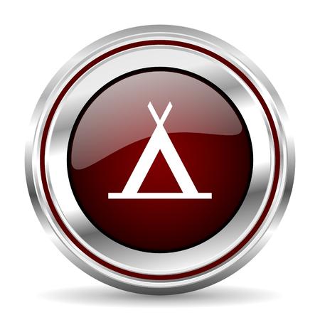 pushbutton: camp icon chrome border round web button silver metallic pushbutton
