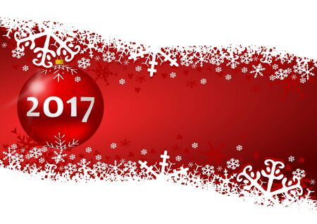 sylvester: 2017 new years illustration with snow and christmas balls on red background Stock Photo