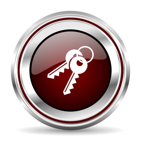pushbutton: keys icon chrome border round web button silver metallic pushbutton