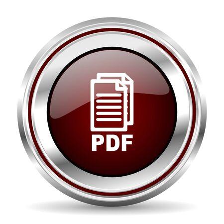 pushbutton: pdf icon chrome border round web button silver metallic pushbutton,
